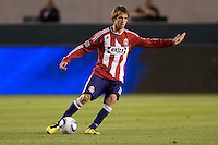 CD Chivas USA midfielder Blair Gavin (18) sends a ball over the middle. The Philadelphia Union and CD Chivas USA played to 1-1 draw at Home Depot Center stadium in Carson, California on Saturday evening July 3, 2010..