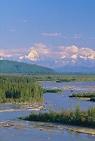 Alaska mountain range over the Tanana River, interior, Alaska