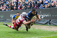 Taulupe Faletau of Bath Rugby scores his third try of the match. Aviva Premiership match, between Bath Rugby and Gloucester Rugby on April 30, 2017 at the Recreation Ground in Bath, England. Photo by: Patrick Khachfe / Onside Images