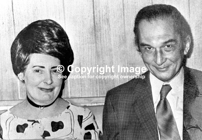 Jeffrey Agate, Du Pont boss in Londonderry, who was murdered by the Provisional IRA, pictured with his wife at a social function. 20/77, 197702040020..Copyright Image from Victor Patterson, 54 Dorchester Park, Belfast, UK, BT9 6RJ..Tel: +44 28 9066 1296.Mob: +44 7802 353836.Voicemail +44 20 8816 7153.Skype: victorpattersonbelfast.Email: victorpatterson@mac.com.Email: victorpatterson@ireland.com (back-up)..IMPORTANT: If you wish to use this image or any other of my images please go to www.victorpatterson.com and click on the Terms & Conditions. Then contact me by email or phone with the reference number(s) of the image(s) concerned.