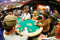 3 March 2007: Wide overview of the table with Paris Hilton playing a hand at the World Poker Tour Invitational for the fifth annual tournament at the Commerce Casino in Los Angeles, CA.