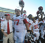 Jacksonville State coach Jack Crowe (left) and Curt Porter (77) celebrate at Vaught-Hemingway Stadium in Oxford, Miss. on Saturday, September 4, 2010. Jacksonville State won 49-48 over Mississippi in double overtime. (AP Photo/Oxford Eagle, Bruce Newman)