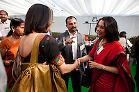Bobby (center) of BMGF India introduce attendees as they mingle in the reception area after the talks at the India Islamic Cultural Centre during the TEDxChange @ TEDxDelhi in New Delhi, India on 22nd March 2011..