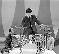 Ringo Starr rehearses for Beatles appearance on Ed Sullivan Show, February 1964, New York. Photographer John G. Zimmerman. C1-13.