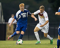 Winthrop University Eagles vs the Brevard College Tornados at Eagle's Field in Rock Hill, SC.  The Eagles beat the Tornados 6-0.  Max Hasenstab (18) and Jami Uuttu (26) contest the ball.