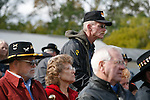 Veterans listen during the rededication ceremony of the 1st Squadron, 9th Cavalry monument at Motts Military Museum in Groveport, Ohio.