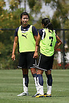 21 August 2009: LA's Han Duan (CHN) (left) talks to Marta (BRA). The Los Angeles Sol held a training session at the Home Depot Center in Carson, California one day before playing Sky Blue FC in the inaugural Women's Professional Soccer Championship Game.