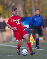Rutgers University defender Paulie Calafiore (16) at midfield.  Rutgers University defeated Boston College in penalty kicks after two overtime periods in NCAA Division I tournament action, at Newton Campus Field, November 20, 2011.
