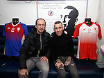 Fernando Ricksen with ex-Rangers player Derek Ferguson this afternoon as the players strips for his Rangers Legends v England Select benefit match are revealed. The match in Fleetwood on March 25th will raise funds for Moror Neurone research