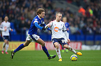 BOLTON, ENGLAND - Saturday, January 26, 2013: Everton's Nikica Jelavic in action against Bolton Wanderers' Jay Spearing during the FA Cup 4th Round match at the Reebok Stadium. (Pic by David Rawcliffe/Propaganda)