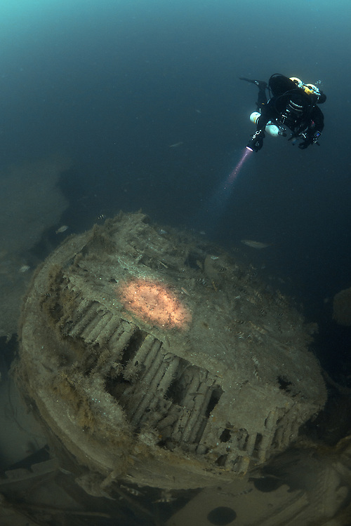 Diver viewing a boiler on the wreck of the P&O liner Moldavia, which was sunk in WW1 off the south coast of England