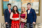 Cathal Hanafin, Orla Greaney, Ali Crean, Christopher Kelly at the CBS The Green Students' Debs Ball at Ballyroe Heights Hotel on Thursday night
