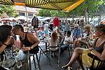 ISRAEL Tel Aviv<br /> People at 'Lamech Barechov' cafe in the flea market.