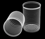 X-ray image of two uncrushed food cans (white on black) by Jim Wehtje, specialist in x-ray art and design images.