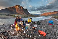 River camp during a float trip down the Marsh Fork of the Canning river, Arctic National Wildlife Refuge, Brooks range mountains, Alaska.