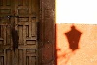 Lantern shadow  in San Miguel de Allende, Mexico. San Miguel de Allende is a UNESCO World Heritage Site....