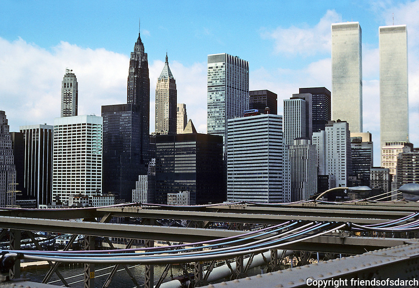 New York: Lower Manhattan from Brooklyn Bridge. Photo '78.