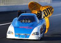 Nov 9, 2013; Pomona, CA, USA; NHRA funny car driver Terry Haddock during qualifying for the Auto Club Finals at Auto Club Raceway at Pomona. Mandatory Credit: Mark J. Rebilas-