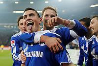 FUSSBALL   1. BUNDESLIGA   SAISON 2011/2012    17. SPIELTAG FC Schalke 04 - SV Werder Bremen                            17.12.2011 Torjubel: Kyriakos Papadopoulos (vorn) und Benedikt Hoewedes (beide, FC Schalke 04)