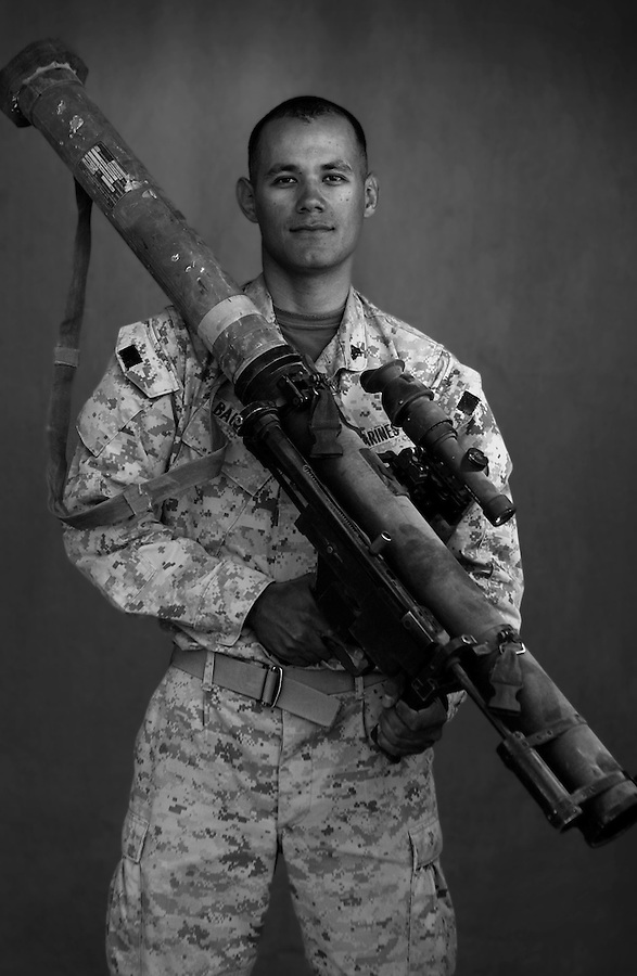 Cpl. Manuel Bautista, 21, Mecca, California, Weapons Platoon, Kilo Co., 3rd Battalion 1st Marines, United States Marine Corps, at the company's firm base in Haditha, Iraq on Sunday Oct. 22, 2005.
