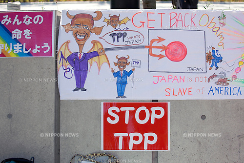 Tokyo, Japan - Anti-TPP placards against the Trans-Pacific Partnership (TPP) in front of the National Diet Building, during the visit of the US President Barack Obama to Japan on April 23, 2013. Tokyo Metropolitan Police Department is on full alert against terrorist and guerrilla attacks around the National Diet Building to hold the security of Obama's visit. (Photo by Rodrigo Reyes Marin/AFLO)