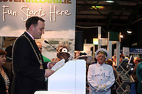 NO FEE PICTURES.25/1/13 Lord Mayor of Dublin Naoise Ó Muirí with at the Holiday World Show at the RDS, Dublin. Picture:Arthur Carron/Collins