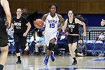 17 November 2016: Duke's Kyra Lambert (15). The Duke University Blue Devils hosted the Grand Canyon University Antelopes at Cameron Indoor Stadium in Durham, North Carolina in a 2016-17 NCAA Division I Women's Basketball game. Duke won the game 90-47.