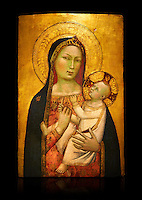 Gothic altarpiece of Madonna and Child by Bernardo Daddi, circa 1340-1345, tempera and gold leaf on wood.  National Museum of Catalan Art, Barcelona, Spain, inv no: MNAC  212806. Against a black background.
