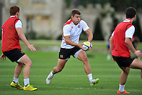 Ollie Devoto of Bath Rugby in possession. Bath Rugby training session on September 4, 2015 at Farleigh House in Bath, England. Photo by: Patrick Khachfe / Onside Images