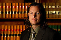 Paul A. Tharp an attorney at Arnold & Smith, PLLC an aggressive civil and criminal litigation firm located in the heart of Charlotte, North Carolina. ..Photo by: PatrickSchneiderPhoto.com