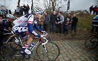 Kuurne-Brussel-Kuurne 2012<br /> Jonas Van Genechten on the Oude Kwaremont