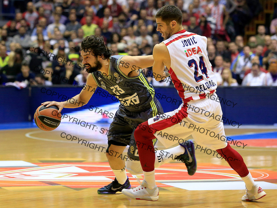 Kosarka Euroleague season 2015-2016<br /> Euroleague <br /> Crvena Zvezda v Real Madrid<br /> Sergio Llull and Stefan Jovic<br /> Beograd, 27.11.2015.<br /> foto: Srdjan Stevanovic/Starsportphoto &copy;