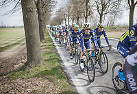 Simon Gerrans (AUS/Orica-Scott) surrounded by teammates &amp; with sprint prodigy Caleb Ewan (AUS/Orica-Scott) in tow<br /> <br /> 108th Milano - Sanremo 2017