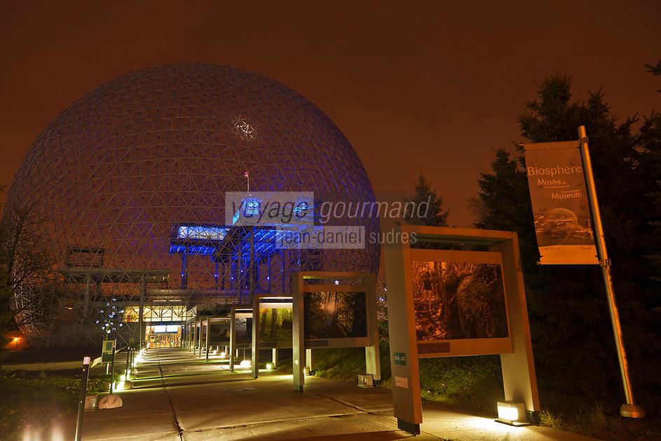 Am&eacute;rique/Am&eacute;rique du Nord/Canada/Qu&eacute;bec/Montr&eacute;al: <br /> La Biosph&egrave;re de Montr&eacute;al  dans le Parc Jean-Drapeau - La Biosph&egrave;re est un mus&eacute;e de l'environnement situ&eacute; sur l'&icirc;le Sainte-H&eacute;l&egrave;ne &agrave; Montr&eacute;al, dans l'ancien pavillon des &Eacute;tats-Unis de l'Expo 67. <br /> La conception du d&ocirc;me g&eacute;od&eacute;sique de la Biosph&egrave;re, le plus imposant du genre au monde, est due &agrave; l'architecte Richard Buckminster Fuller.