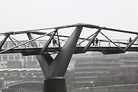 Millenium Bridge, London, UK, 2000, by the architect Sir Norman Foster with sculptor Sir Anthony Caro and engineers Arup. The 325m suspension footbridge was the first new Thames crossing in 100 years and links the city to Southwark. It wobbled on opening and had to be modified with dampers. Picture by Manuel Cohen