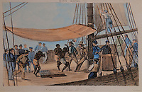The Negros' Dance, watercolour engraving, c. 1830-40, with a small group of slaves made to dance on the deck of the ship whilst whipped, in the Musee d'Aquitaine, Cours Pasteur, Bordeaux, Aquitaine, France. Picture by Manuel Cohen
