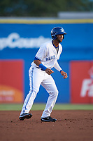 Dunedin Blue Jays shortstop Lourdes Gurriel (13) leads off second base after hitting a double during a game against the St. Lucie Mets on April 19, 2017 at Florida Auto Exchange Stadium in Dunedin, Florida.  Dunedin defeated St. Lucie 9-1.  (Mike Janes/Four Seam Images)