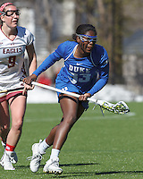 Newton, Massachusetts - April 4, 2015: NCAA Division I. Duke University (blue) defeated Boston College (white), 13-8, on Newton Campus Field at Boston College.