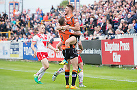 Picture by Allan McKenzie/SWpix.com - 13/05/2017 - Rugby League - Ladbrokes Challenge Cup - Castleford Tigers v St Helens - The Mend A Hose Jungle, Castleford, England - Castleford's Greg Minikin is congratulated by Zak Hardaker on scoring a try against St Helens.