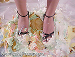 This model pretty feet in dress sandals step in a messed up whipped cream pies with her toes getting a sweet treat.