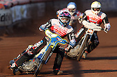 Heat 2: Jason Doyle (white) and Robin Aspegren (yellow) on their way to a 5-1 victory with Robert Mear (blue) bringing up the rear - Lakeside Hammers vs Swindon Robins at the Arena Essex Raceway, Pufleet - 18/06/12 - MANDATORY CREDIT: Rob Newell/TGSPHOTO - Self billing applies where appropriate - 0845 094 6026 - contact@tgsphoto.co.uk - NO UNPAID USE..