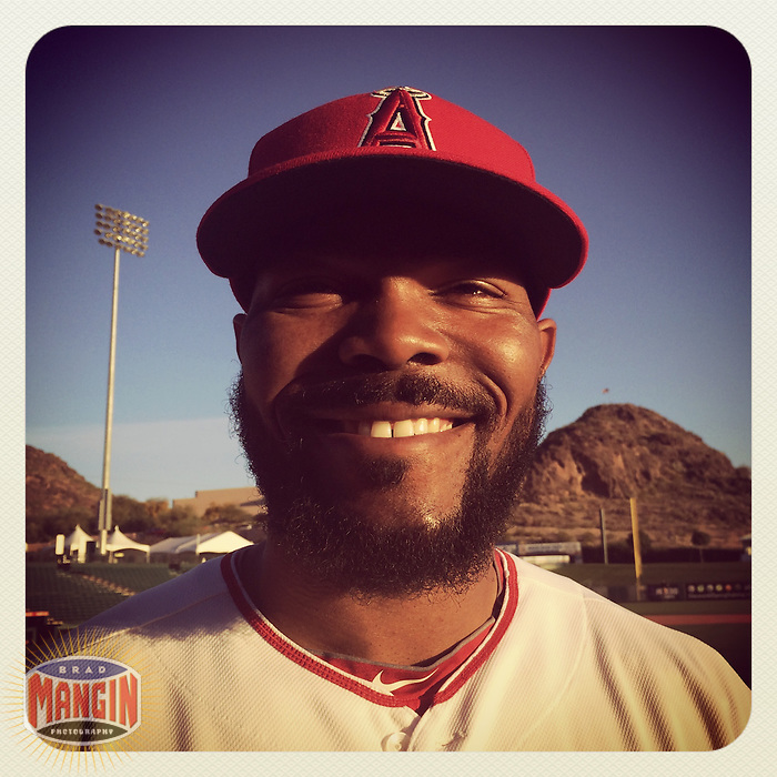 TEMPE, AZ - FEBRUARY 26:  Instagram of Howie Kendrick of the Los Angeles Angels of Anaheim posing for a picture on photo day during spring training at Tempe Diablo Stadium on February 26, 2014 in Tempe, Arizona. Photo by Brad Mangin