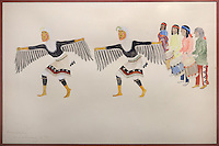 Pueblo Dancers, painting, 1917, by Crescendo Martinez, d. 1918, Puebloan artist, in the Chapin Mesa Archeological Museum, in Mesa Verde National Park, Montezuma County, Colorado, USA. The dancers are dressed as eagles and the drummers accompanying them played music and sang throughout the public ceremony. Crescendo Martinez is from San Ildefonso Pueblo, New Mexico, and is of the Santa Fe Indian School of Art. Mesa Verde is the largest archaeological site in America, with Native Americans inhabiting the area from 7500 BC to 13th century AD. It is listed as a UNESCO World Heritage Site. Picture by Manuel Cohen