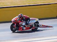 Oct 16, 2016; Ennis, TX, USA; NHRA pro stock motorcycle rider Hector Arana Jr during the Fall Nationals at Texas Motorplex. Mandatory Credit: Mark J. Rebilas-USA TODAY Sports