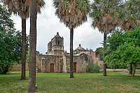 We capture this side view of the Mission Concepción right before the skies open up  and poured for a good while.  I like the side angle it just give a different pov of this historic landmark in the city of San Antonio Texas.  This is one of the many missions that are considered world heritages site because of their history and longevity.  This mission still has mass on Sundays.