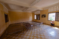 Phnom Penh, Cambodia. Tuol Sleng Genocide Museum at the former Security Prison 21 (S-21) of the Khmer Rouge. Torture chamber with iron bed.