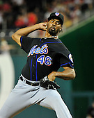 New York Mets pitcher Manny Acosta (46) works in the eighth inning against the Washington Nationals at Nationals Park in Washington, D.C. on Saturday, July 30, 2011.  The Nationals won the game 3 - 0..Credit: Ron Sachs / CNP.(RESTRICTION: NO New York or New Jersey Newspapers or newspapers within a 75 mile radius of New York City)