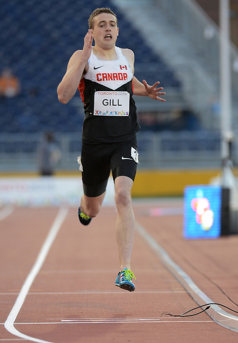 Toronto, ON - Aug 11 2015 - Holden Gill competes in the Men's 400m T20 Final in the CIBC Athletics Stadium during the Toronto 2015 Parapan American Games  (Photo: Matthew Murnaghan/Canadian Paralympic Committee)