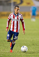 CARSON, CA - July 7, 2012: Chivas USA midfielder Paolo Cardozo (30) during the Chivas USA vs Vancouver Whitecaps FC match at the Home Depot Center in Carson, California. Final score Vancouver Whitecaps FC 0, Chivas USA 0.