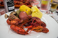 NWA Democrat-Gazette/ANTHONY REYES &bull; @NWATONYR<br /> Crawfish with potatoes, corn shiitakes, house made andouille Wednesday, April 15, 2015 at The Hive's crawfish boil block party, inside the 21C hotel in Bentonville. Many boils happen this time of year. The Hive's boil featured a four course meal with crawfish flown in fresh from the gulf coast. Chef Matt McClure created each dish.